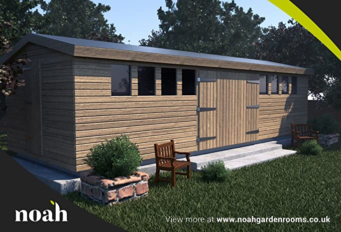 Noah Garden Rooms Don Marino - Cobertizo de madera para jardín, taller o garaje (6 x 3 m, robusta): Amazon.es: Jardín