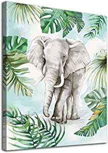"""Elephant Wall Art Tropical Botanic Leaf Canvas Pictures Green Gray Modern Artwork Contemporary Abstrac Prints Framed for Home Office Kitchen Nursery Bathroom Bedroom Living Room Decor 12"""" x 16"""""""