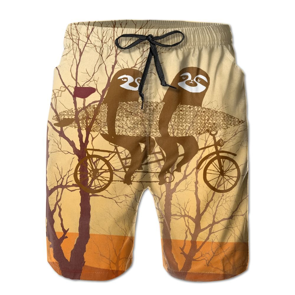 Mens Surfing Tandem Sloths Bicycle Quick Dry Lightweight Fashion Board Shorts Swim Trunks M