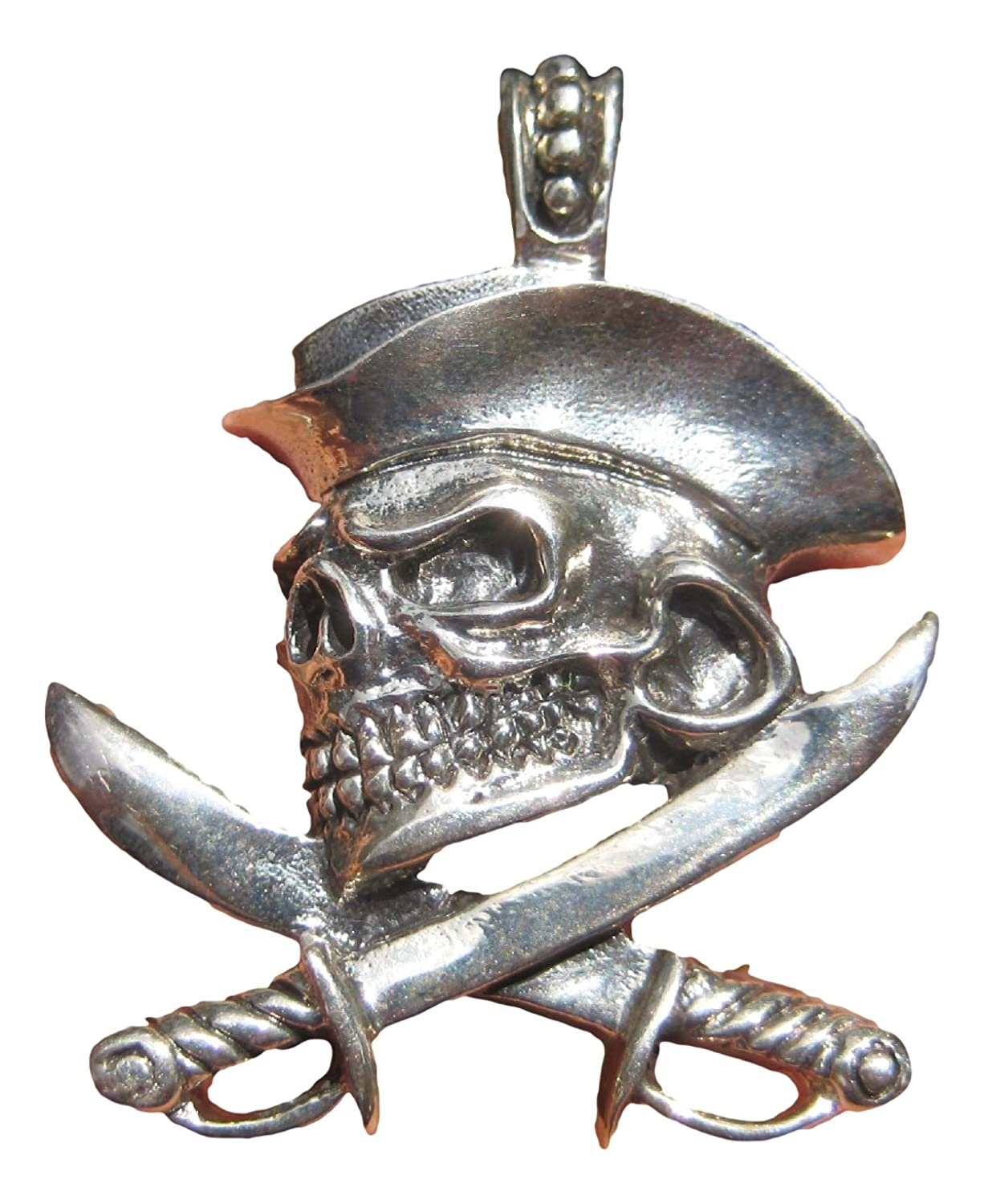 Sterling Silver Skull Cutlass Pirate Pendant