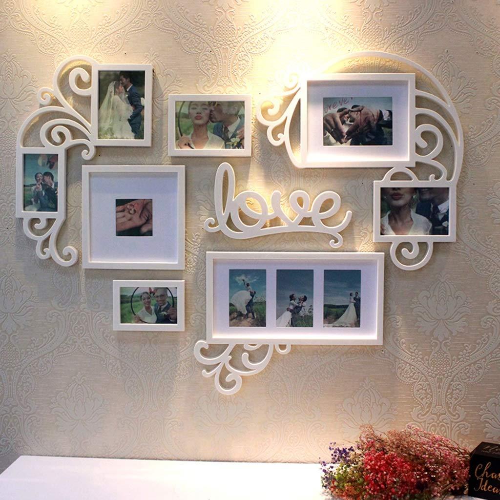Unbekannt Multi-Fotorahmen-Kombination Wanddekoration Wohnzimmer-Schlafzimmer Zum Aufhängen Dekorative Fotowand Fotorahmen-Wand-Kombination Herzförmige Fotowand (Color : Weiß, Size : 109 * 83cm)
