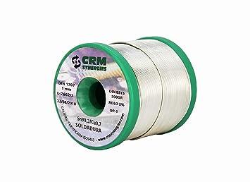 Hilo de Soldar Estaño Cobre CRM Sn99,3/Cu0,7 1mm 500gr: Amazon.es: Bricolaje y herramientas