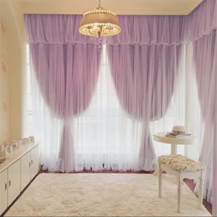 Lotus Karen Gorgeous Long Living Room Curtains Heavy Duty 3 Layer Beautiful  Leaf Shape Tulle