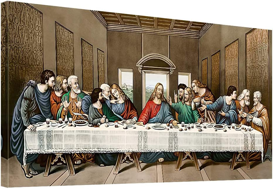 The Last Supper Canvas Wall Art - Leonardo da Vinci Classic Art Reproductions Famous Painting Print Framed Picture for Kitchen Dinning Room Office Hallway Home Decor Gift-20