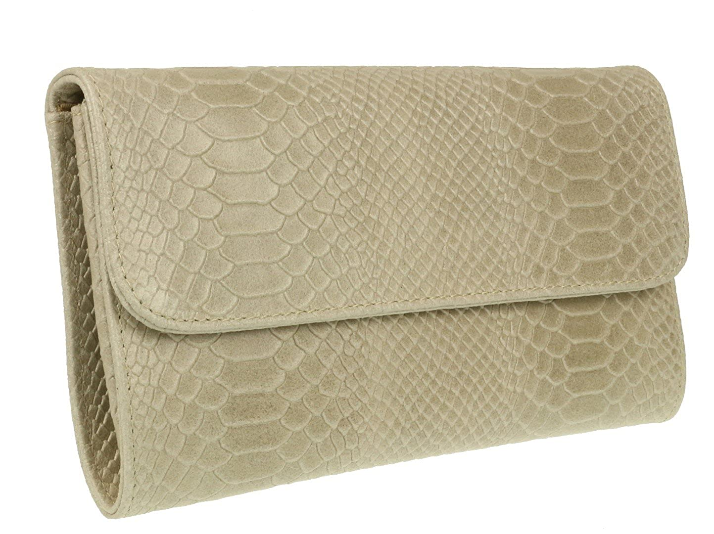 fcf59e4891 Girly HandBags Snake Print Suede Clutch Bag Italian Leather (Beige)   Amazon.co.uk  Shoes   Bags