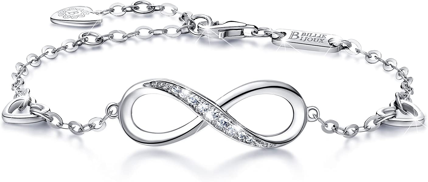 Womens 925 Sterling Silver Infinity Endless Love Symbol Charm Adjustable  Bracelet for Women