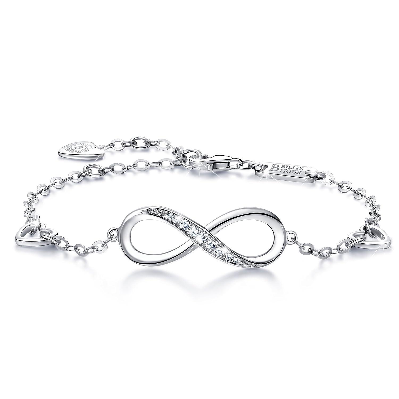 Billie Bijoux Womens 925 Sterling Silver Infinity Endless Love Symbol Charm Adjustable Bracelet Gift for Women BBB001