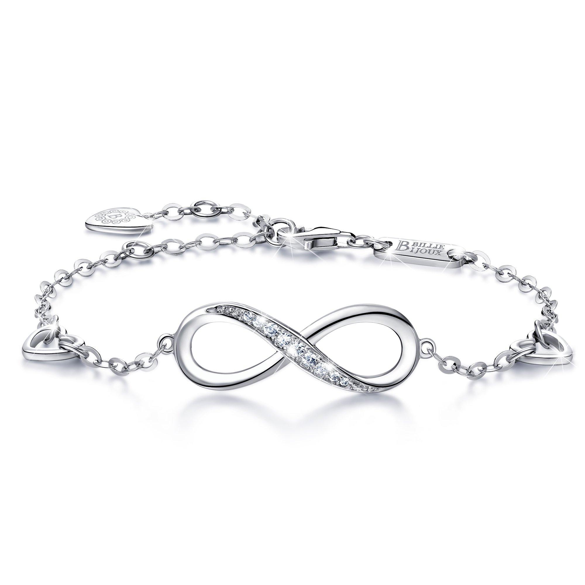 Billie Bijoux Womens 925 Sterling Silver Infinity Endless Love Symbol Charm Adjustable Bracelet Gift for Women Girls (A- Silver) by Billie Bijoux