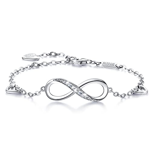 2c4dd778f30 Billie Bijoux Womens 925 Sterling Silver Infinity Endless Love Symbol Charm  Adjustable Bracelet Women Gift for Christmas (A-silver): Billie Bijoux: ...