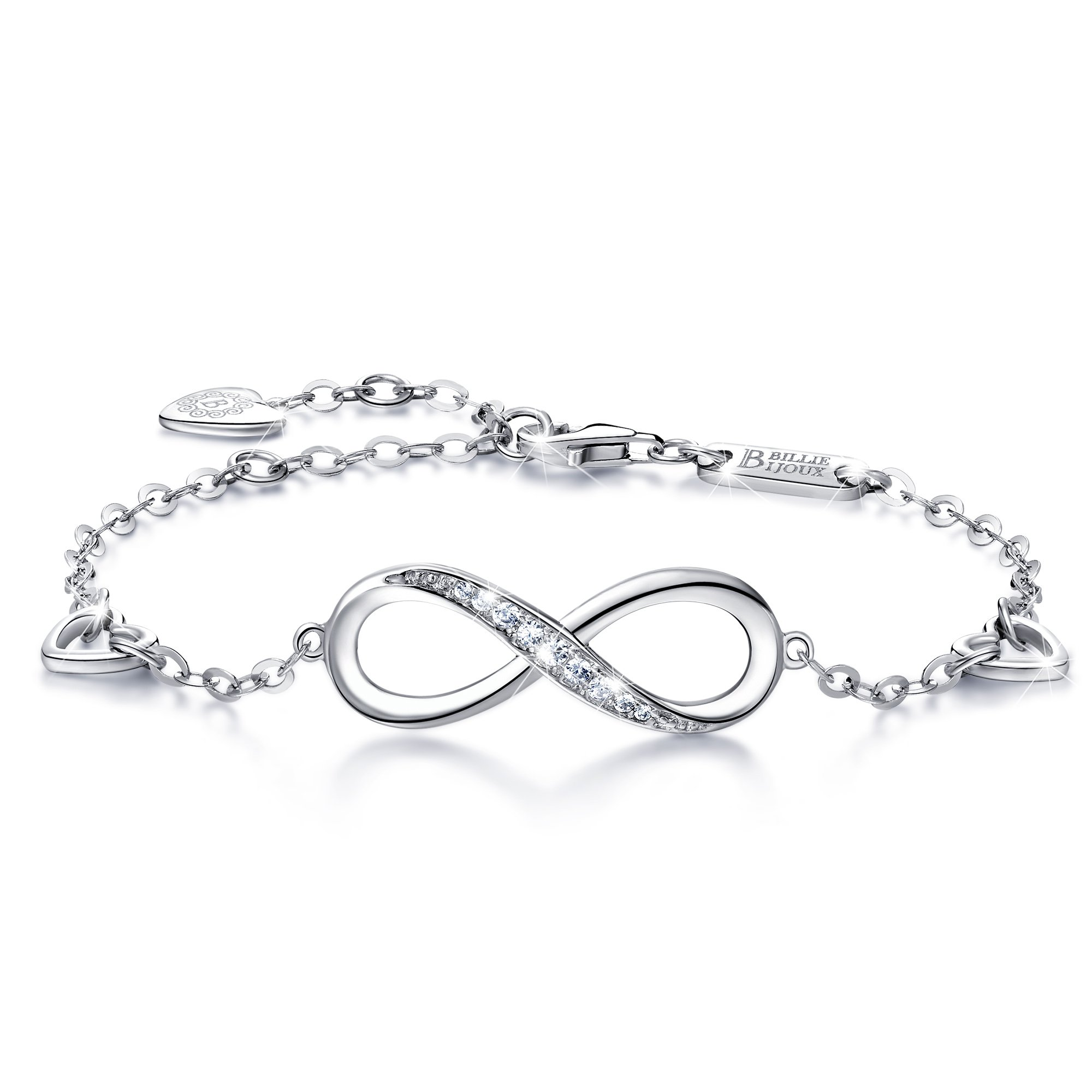 Billie Bijoux Womens 925 Sterling Silver Infinity Endless Love Symbol Charm Adjustable Bracelet Gift for Women Girls (A- Silver)