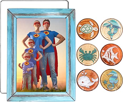 Amazon Com 5x7 Photo Frame Family Fridge Magnets 6pc Marine Life Refrigerator Magnet Set Picture Frames Base Cover Cute Family Collage Grandson Pictures Magnetic Sleeves Locker For Stainless Steel Refrid