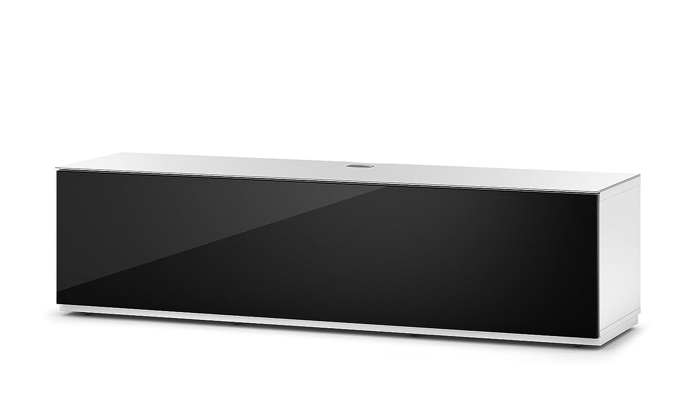 Sonorous STA 160F-WHT-BLK-BW hängende TV-Lowboard mit Sockel, weißer Korpus, obere Fläche, gehärtetem Weißglas und Klapptür mit gehärtetem Schwarzglas