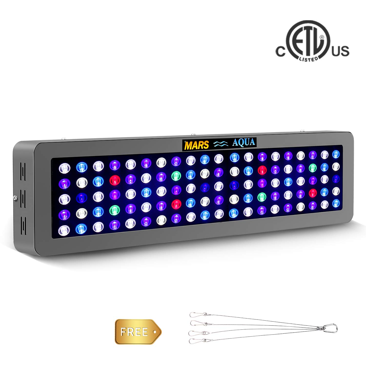 MarsAqua LED Aquarium Light lighting Dimmable 300w Full Spectrum For Freshwater and Saltwater Fish Coral Tank bluee and White LPS SPS