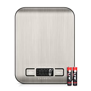 Crownful Digital Food Scales, 11lb Kitchen Scale Weight Grams and Ounces for Cooking and Baking, 5 Units with Tare Function (Batteries Included)