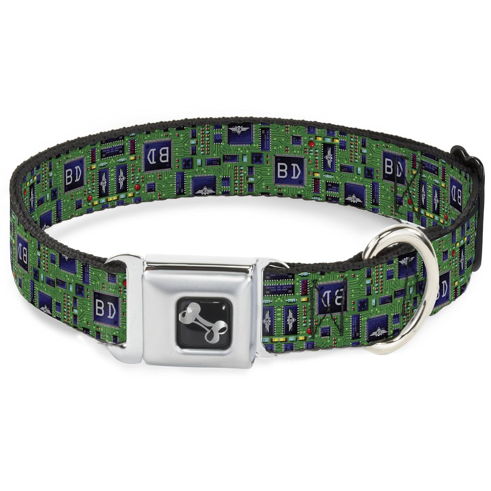Buckle-Down Seatbelt Buckle Dog Collar Circuit Board 1.5  Wide Fits 18-32  Neck Large