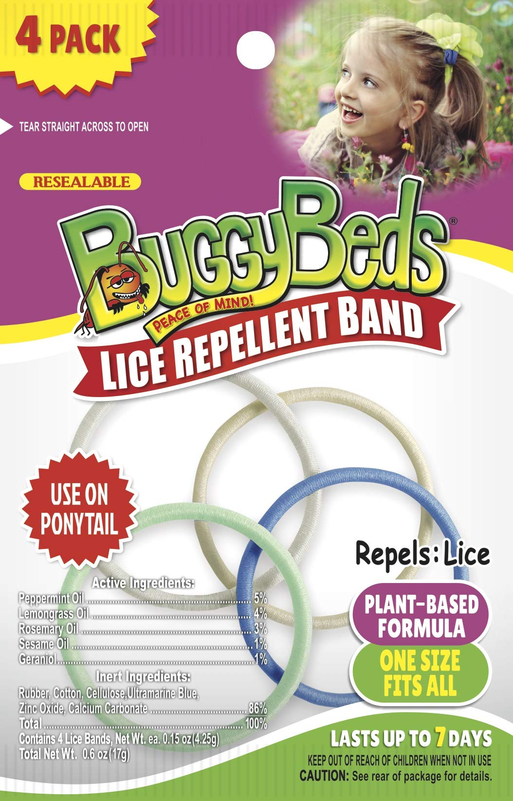 BuggyBeds Lice Repellent Hair Bands, 12 Pack (48 pcs) by BuggyBeds