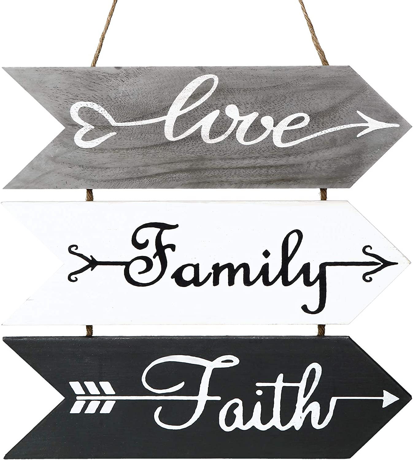 Jetec 3 Pieces Rustic Wood Arrow Sign Wall Decor Love Family Faith Wood Sign Hanging Wall Sign Welcome Sign for Farmhouse Home Living Room Kitchen Wall Decorations