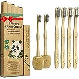 Cepillo Dientes Bambu Paquete de 6 + 2 Portacepillos de Dientes, Cepillos de Dientes de Bambú con cerdas de carbón de bambú para Una Mejor Limpieza, Embalaje Reciclable, 100% libre de BPA