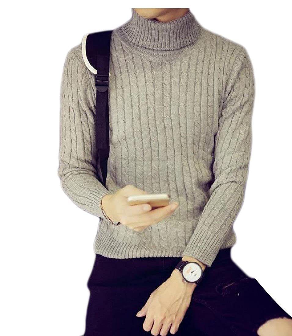 BabyYoungMen BabyYoung Mens Pure Color High Neck Knit Slim Long Sleeve Sweater Pullover