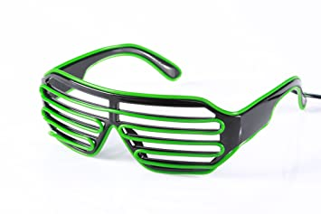 electrica] EX brillantes gafas de sol verdes ciegos: Amazon ...