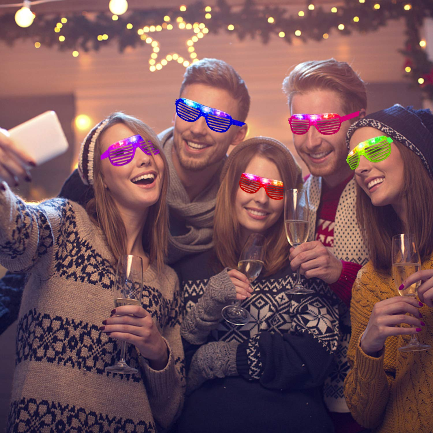 20 Pack Party Favors LED Light Up Glasses Glow in The Dark Party Supplies Toys Flashing Glasses Neon Shutter DJ SunGlasses Parties Decorations Holiday Birthday Gifts for Adult Kids by CHARMCZ (Image #5)