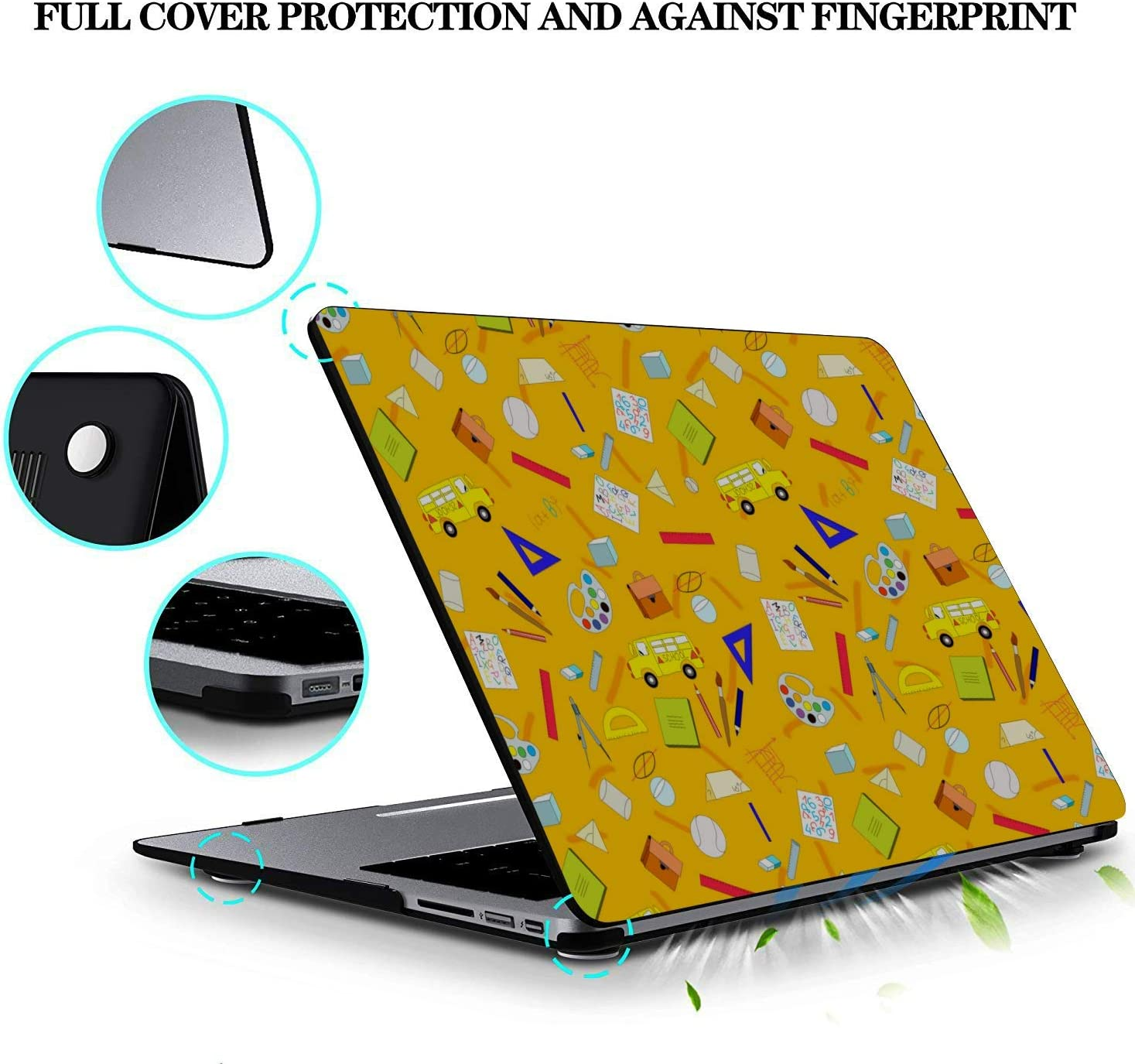 2018 MacBook Pro Accessories School Supplies Cute Stationery Bag Plastic Hard Shell Compatible Mac Air 11 Pro 13 15 MacBook Air Accessories Protection for MacBook 2016-2019 Version