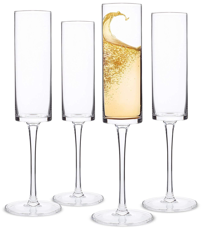 Champagne Flutes, Edge Champagne Glass Set of 4 - Modern & Elegant Gift for Women, Men, Wedding, Anniversary, Christmas, Birthday - 6oz, 100% Lead Free Crystal by Elixir Glassware