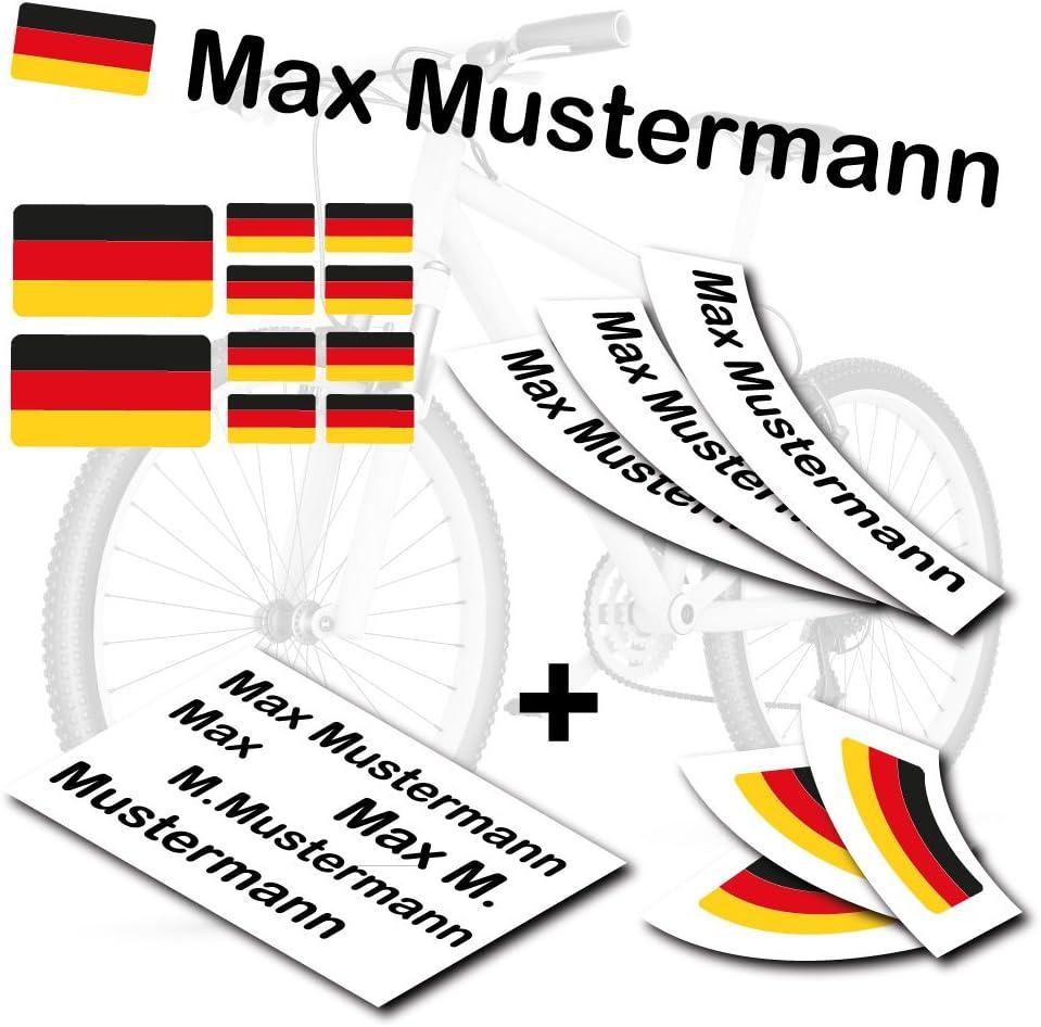 S S4B0177 Deutschland Flagge als Aufkleber Sticker Fahrrad Auto style4Bike TOP Namensaufkleber 2er Set inkl