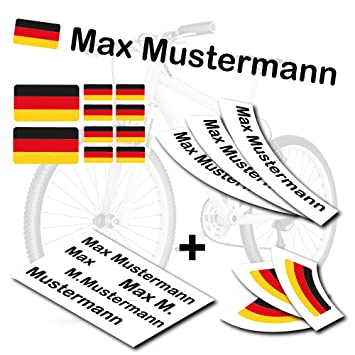 Style4bike Top Namensaufkleber 2er Set Inkl Deutschland Flagge Als Aufkleber Sticker Fahrrad Auto S S4b0177