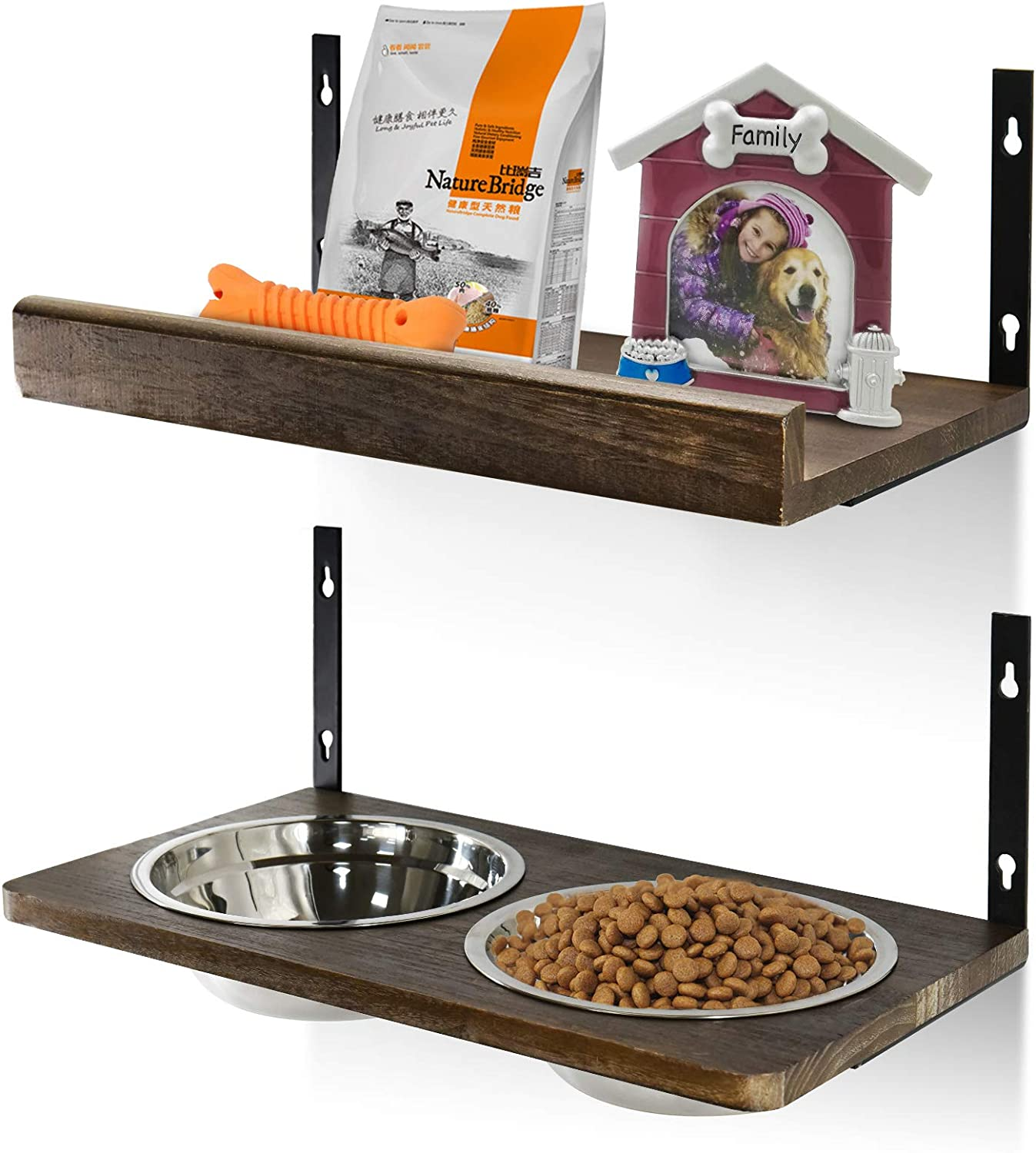 Pet Bowel Wall Mounted, Raised Pet Feeding Stand with Floating Shelf, Customized Height Elevated Pet Feeder Station for Food and Water with 2 Stainless Steel Bowls for Large Medium Small Pet