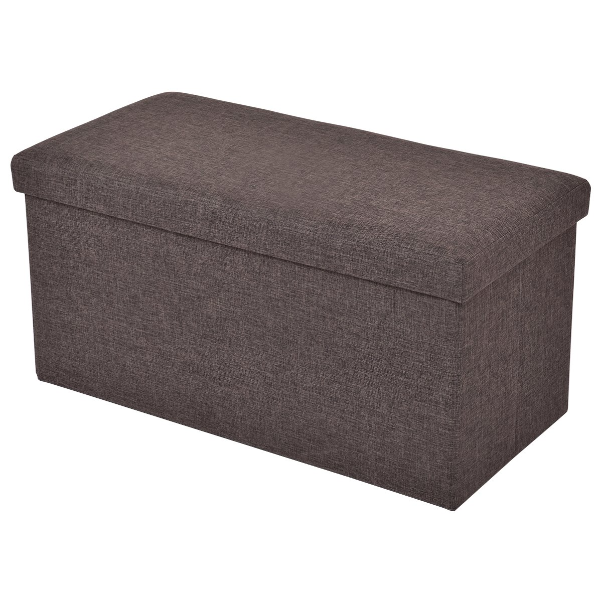 CASART Ottoman Double Seater - 2 Seat Bench, Foldable Stool Box, Folding Storage Pouffe, Footstool with Fabric Materials and Removable Lid for Space-saving (Grey)