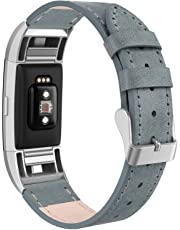 """SWEES Bands Compatible for Fitbit Charge 2 Leather Small (5.6"""" - 7.5""""), Genuine Leather Wristband Metal Connectors Women, Black, Beige, Brown, Grey, Rose Gold, Blue"""