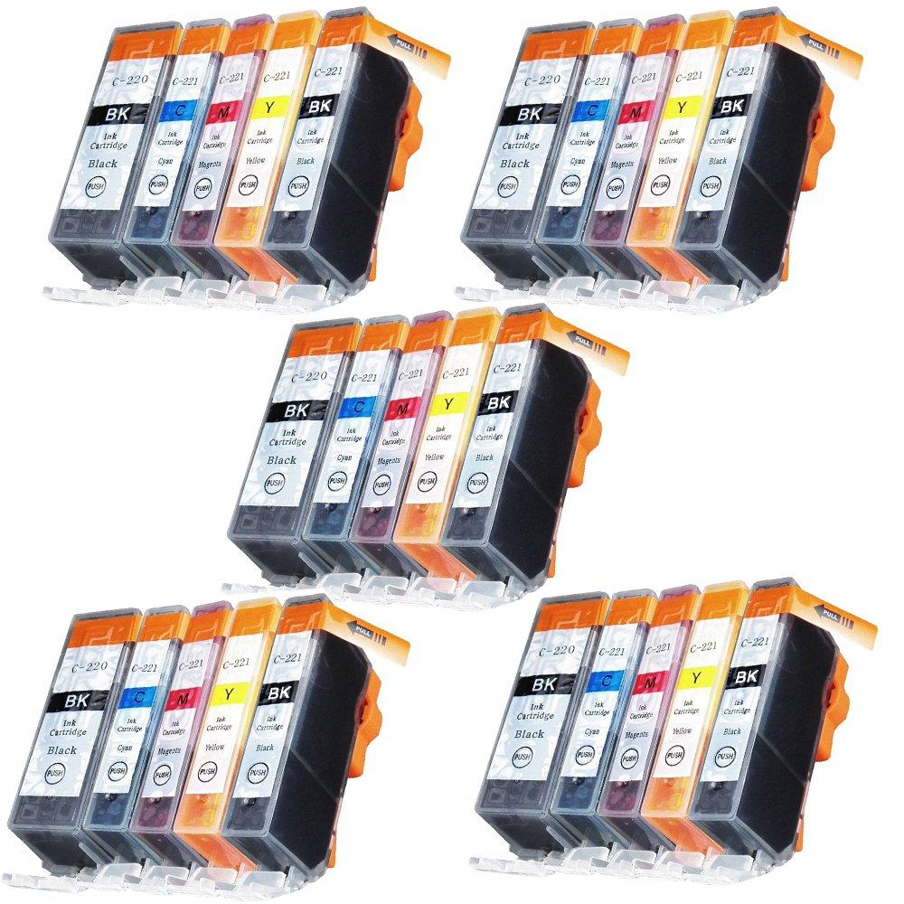 EstonマルチパックPGI - 220 CLI - 221インクカートリッジと互換性ip3600 ip4600 ip4700 mx860プリンタ B0741XQVWT  5 x PGI220BK ,5 x CLI221BK , 5 x CLI221C , 5 x CLI221M , 5 x CLI221Y