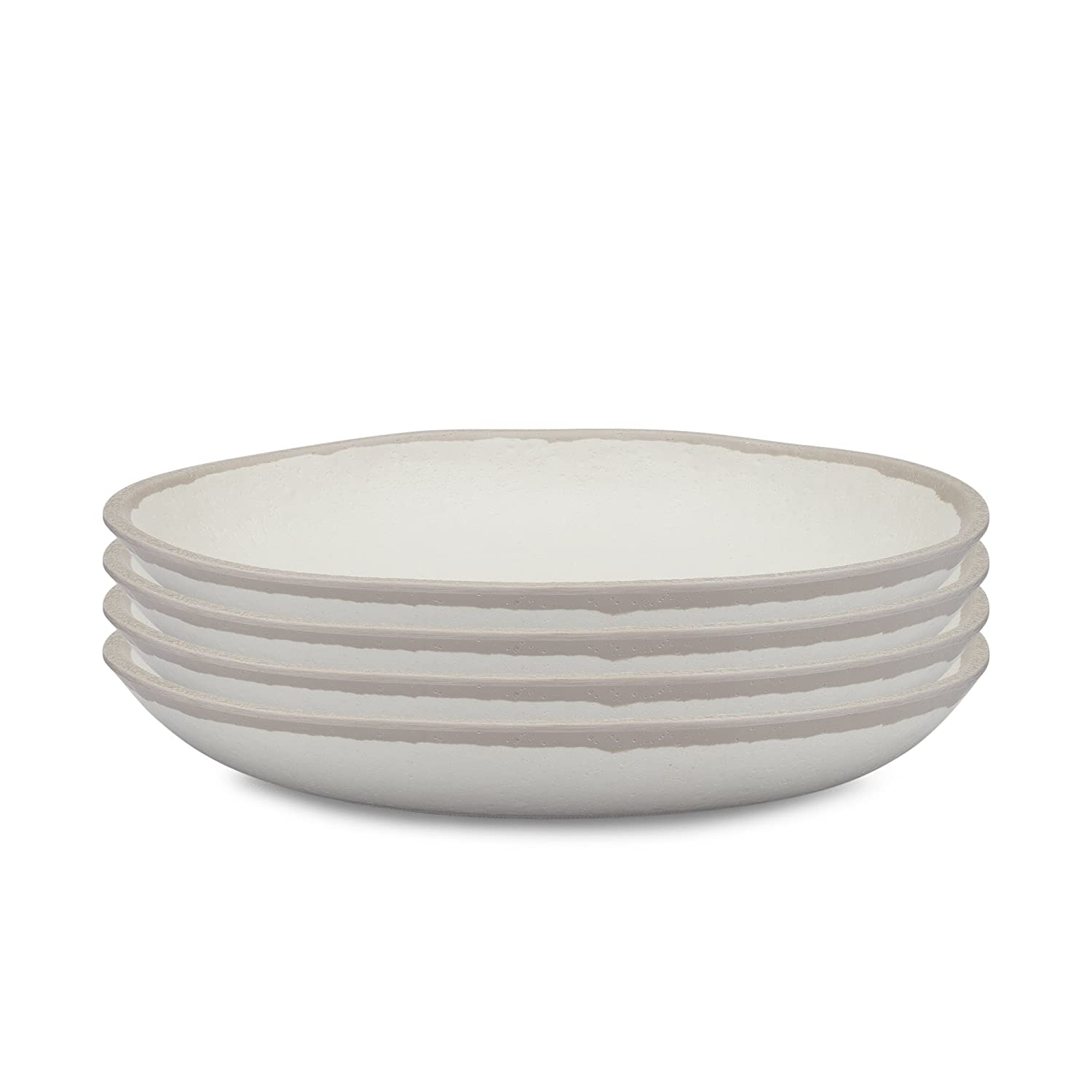 Q Squared Potter Collection Set of 4 Gray POTST02 8-Inches Stone BPA-Free and Shatterproof Melamine and Bamboo Salad Plate
