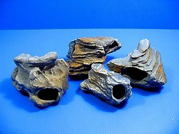 4pcs Acuario de cíclidos piedra cerámica roca cueva decoración: Amazon.es: Productos para mascotas