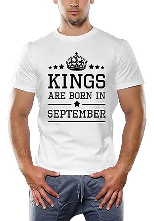 Kings Are Born In September White T Shirt
