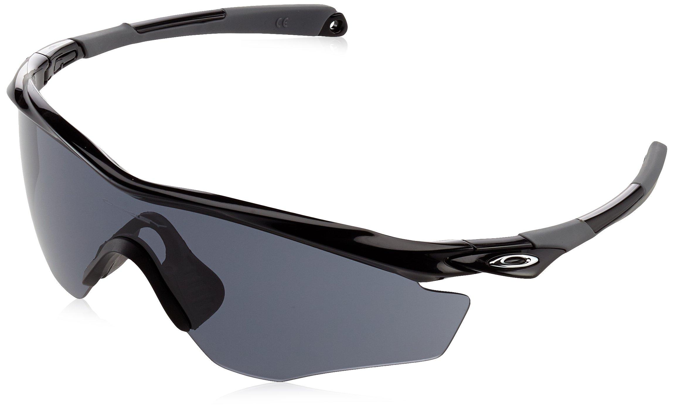 Oakley Men's OO9343 M2 Frame XL Shield Sunglasses, Polished Black/Grey, 45 mm