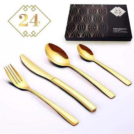 Amazon.com: Juego de cubiertos de acero inoxidable de 24 ...