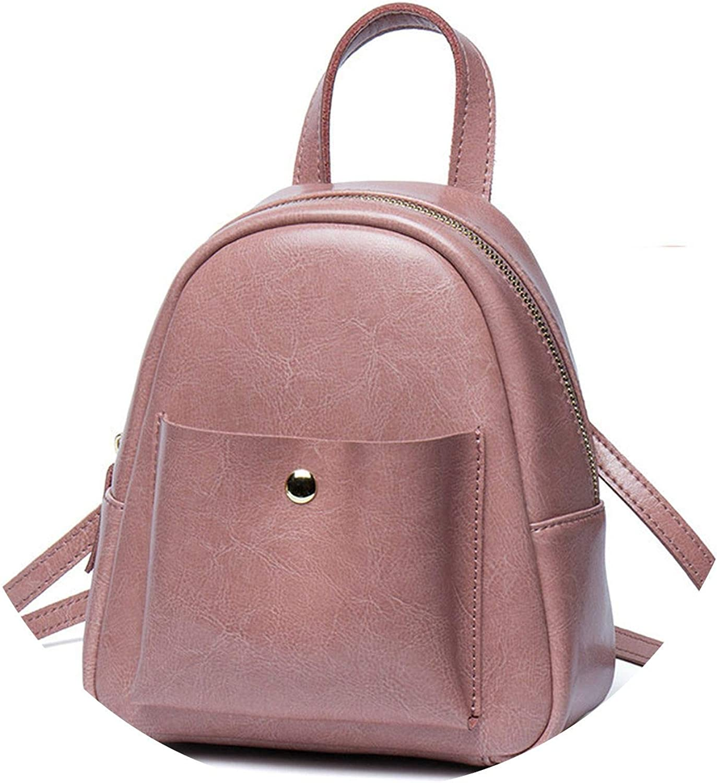 PU Leather Mini Backpack Teenager Korean Style Trendy Fashion Cute Simple Pink Black Rucksack