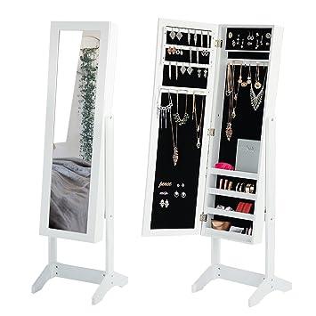 Amazon.com: Jewelry Mirror Cabinet White Mirror Armoire Storage ...