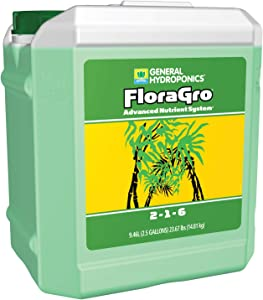 General Hydroponics HGC718050 FloraGro 2-1-6, Use With FloraMicro & FloraBloom, Provides Nutrients For Structural & Foliar Growth Ideal For Hydroponics, 2.5-Gallon, Green