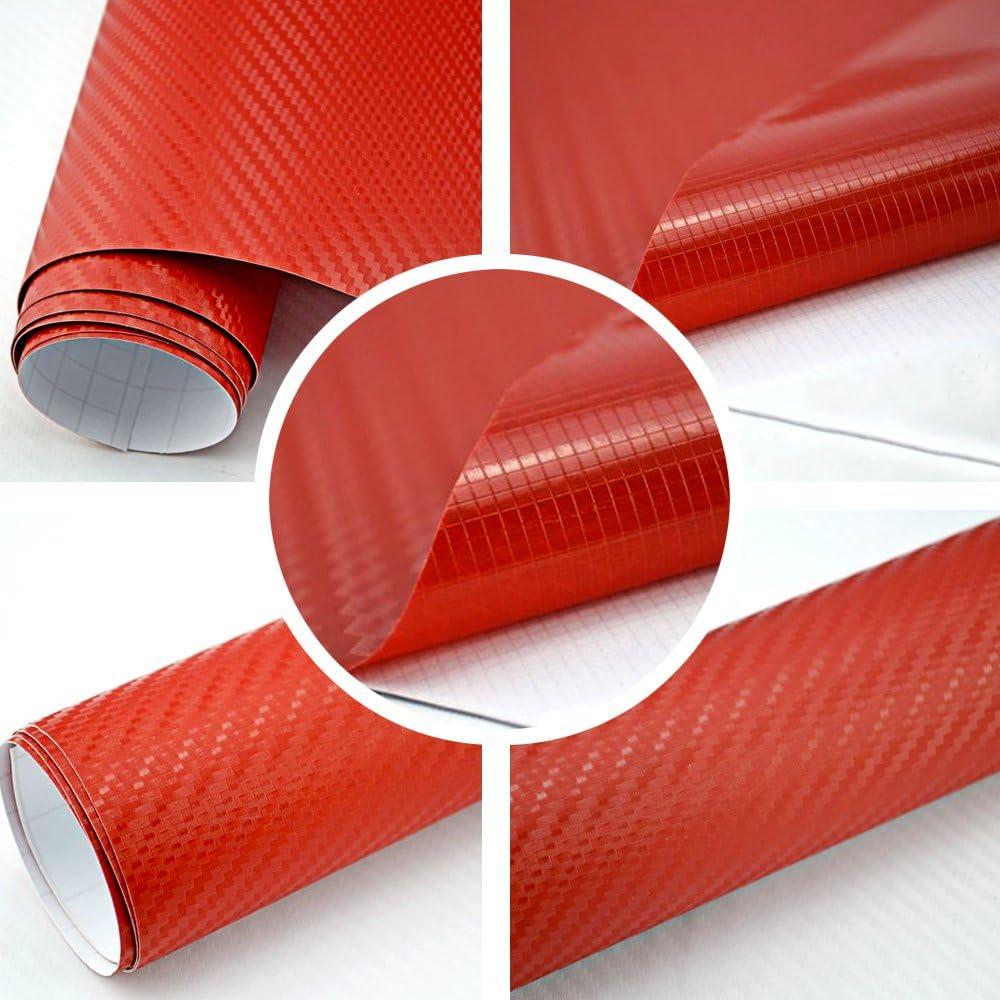 Tiptopcarbon 8 55 M Autofolie 3d Carbon Rot 152cm Breit Blasenfrei Mit Luftkanäle 3d Flex Selbstklebende Folie Auto Folierung Küche Haushalt