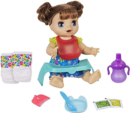 Amazon Com Baby Alive Happy Hungry Baby Brown Straight Hair Doll Makes 50 Sounds Phrases Eats Poops Drinks Wets For Kids Age 3 Up Toys Games