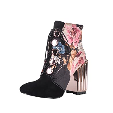 Metal Block Heel and Flowers Printed Fabric Lace-up Fashion Boot