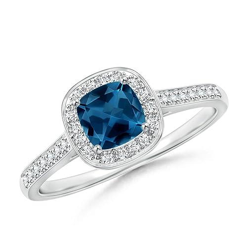 Amazon.com: Cojín clásico de Londres azul topacio anillo con ...