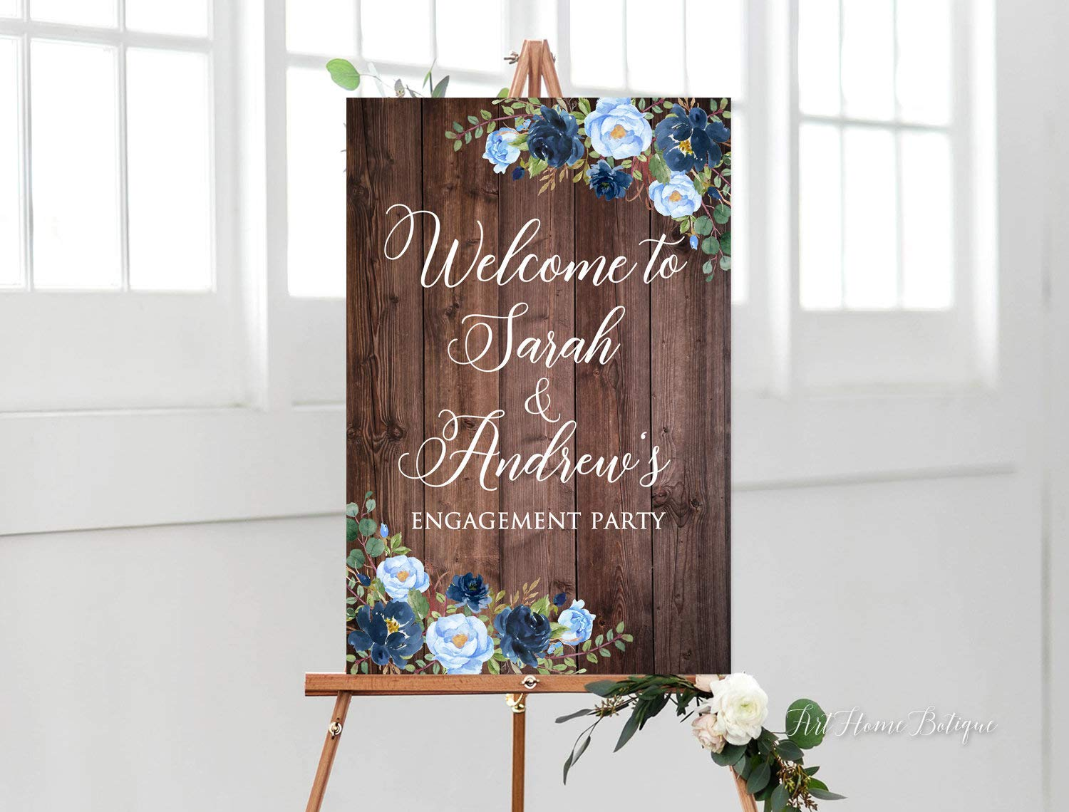 Gmk Rustic Engagement Party Sign Blue Wedding Welcome Sign Welcome To Our Engagement Sign Printable Blue Flowers