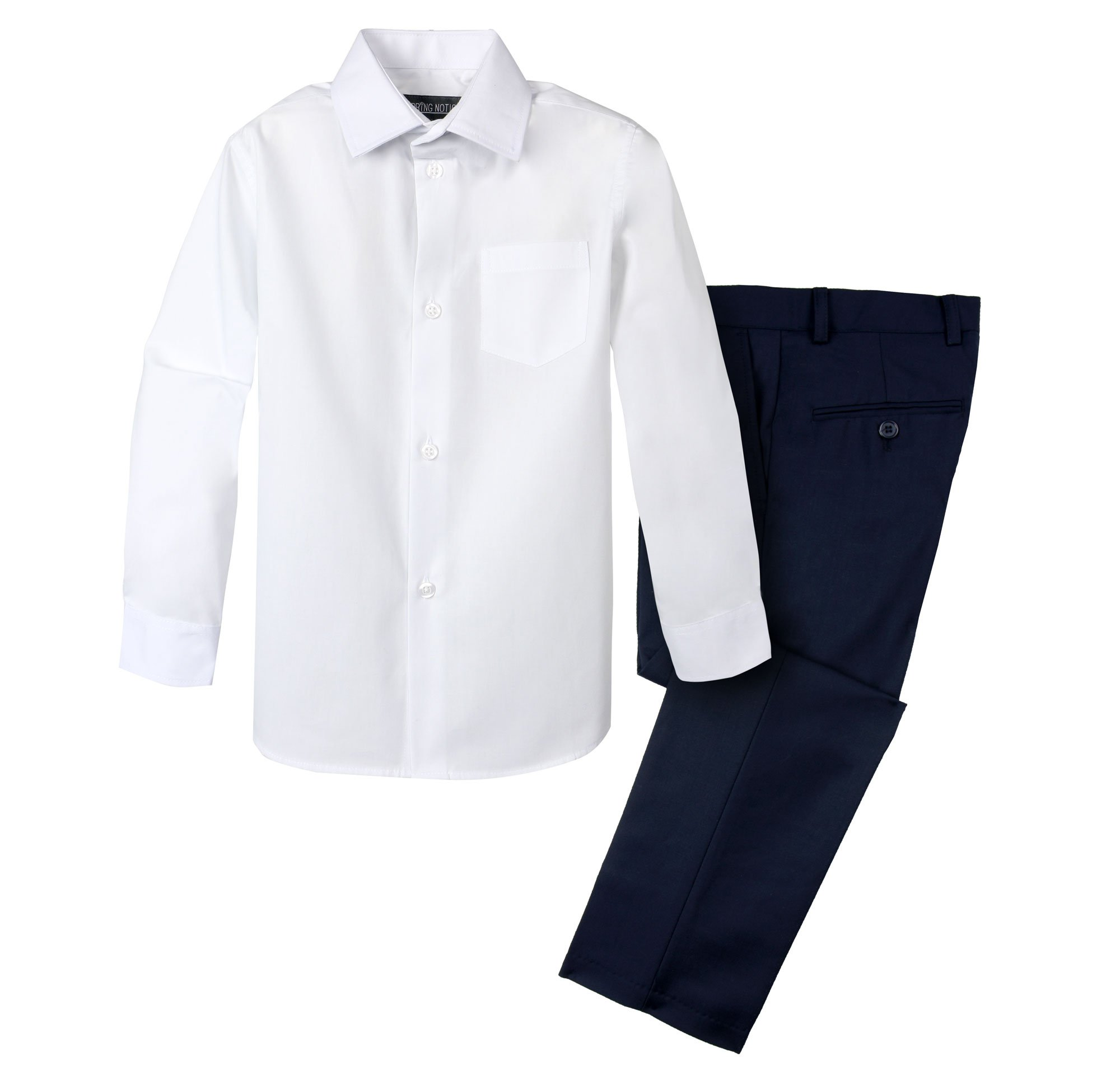 Spring Notion Boys' Dress Pants and Shirt 8 Navy/White