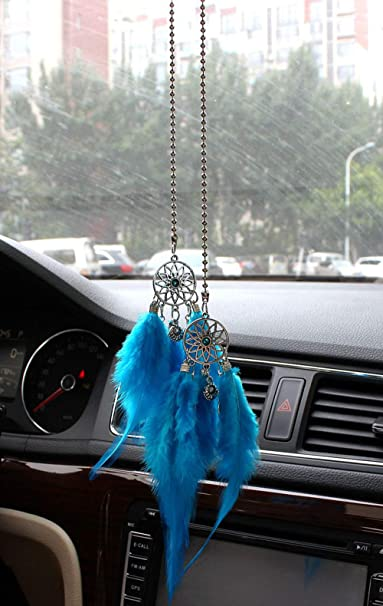 MLOVESIE Car Charm Rear View Mirror Hanging Ornament Feather Home Decor Sweater Chain Necklace Pink