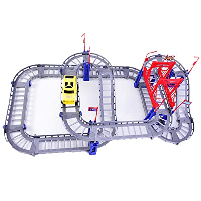 Meyall Car Racing Track Sets Assembly Train Tracks Railways for Boys Girls Kids Developing Thinking Imagination Handwork Ability with 90pcs Parts and Battery-Powered Toy Car (Battery Not Included)