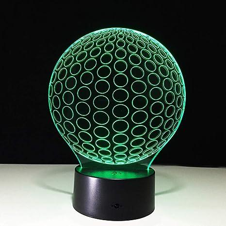 Pelota de golf que modela la lámpara de mesa 3D LED 7 que cambia ...